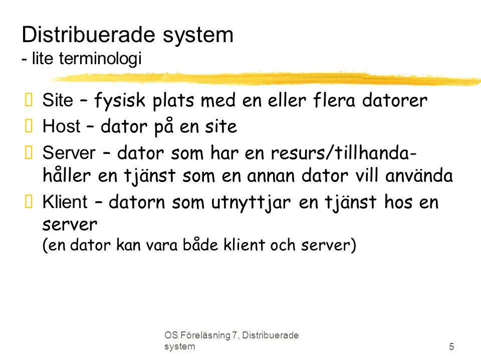 Distribuerade system - lite terminologi