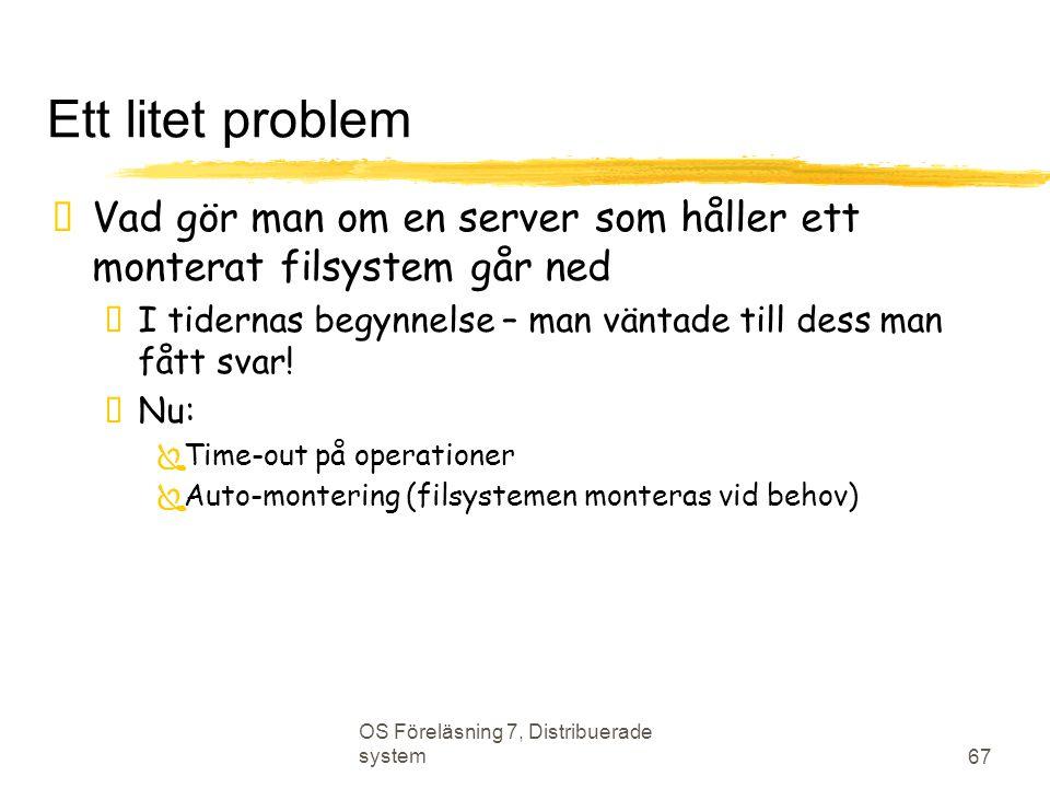 Ett litet problem Vad gör man om en server som håller ett monterat filsystem går ned. I tidernas begynnelse – man väntade till dess man fått svar!