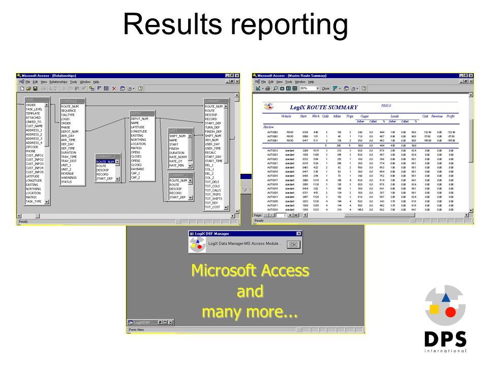 Results reporting Microsoft Access and many more...