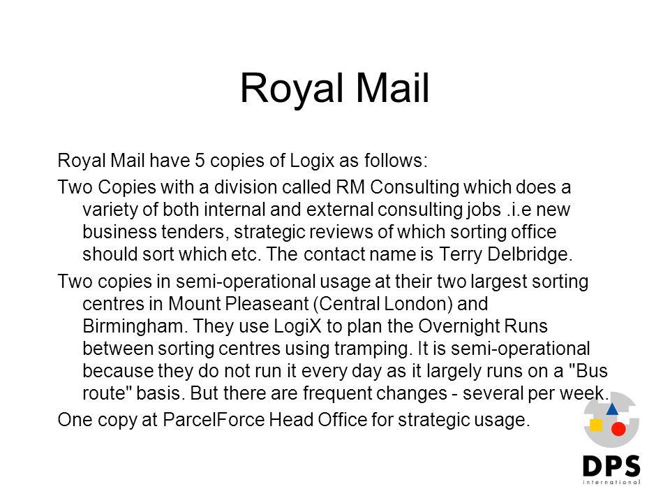 Royal Mail Royal Mail have 5 copies of Logix as follows: