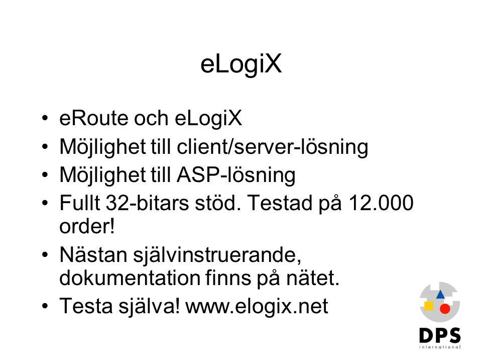 eLogiX eRoute och eLogiX Möjlighet till client/server-lösning