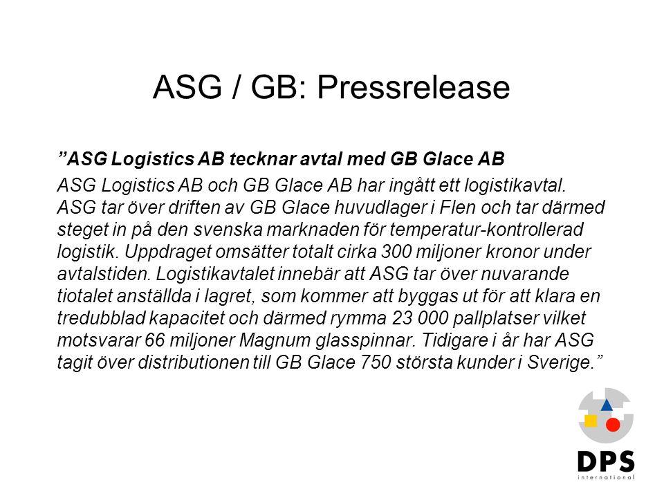 ASG / GB: Pressrelease ASG Logistics AB tecknar avtal med GB Glace AB
