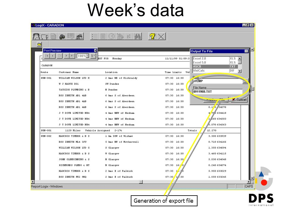 Week's data Generation of export file