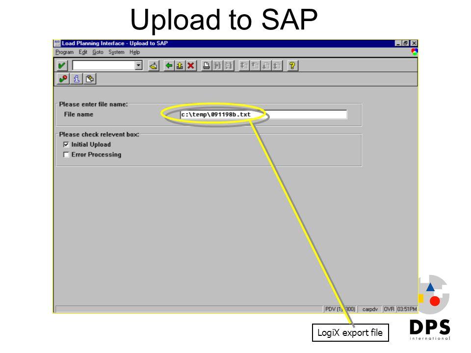 Upload to SAP LogiX export file