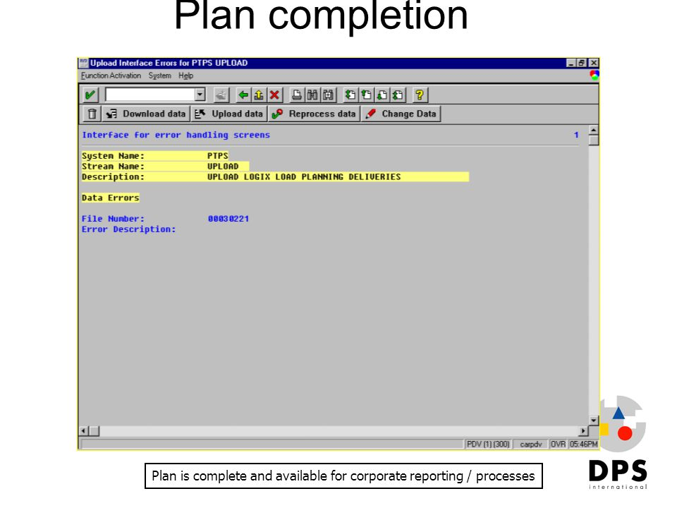Plan is complete and available for corporate reporting / processes