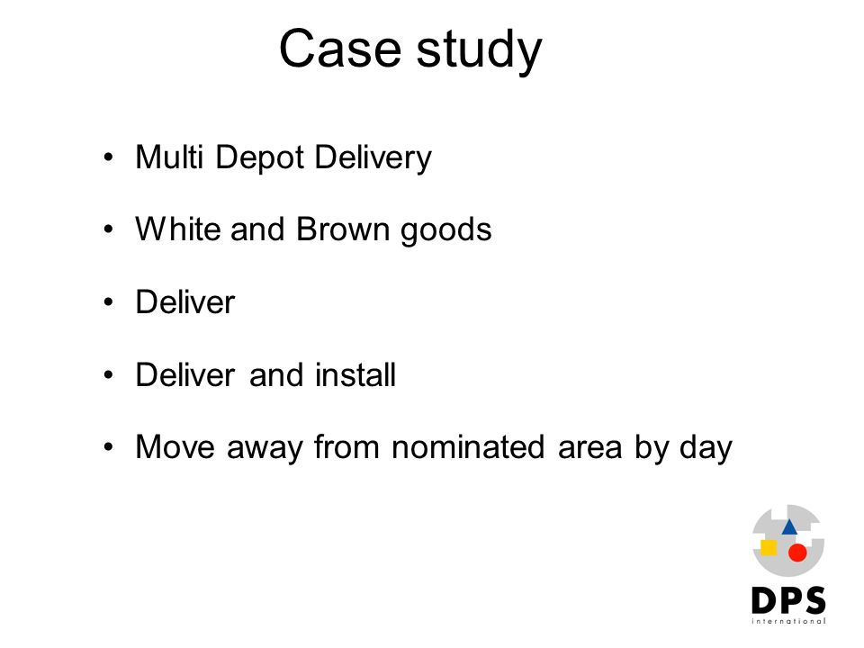 Case study Multi Depot Delivery White and Brown goods Deliver