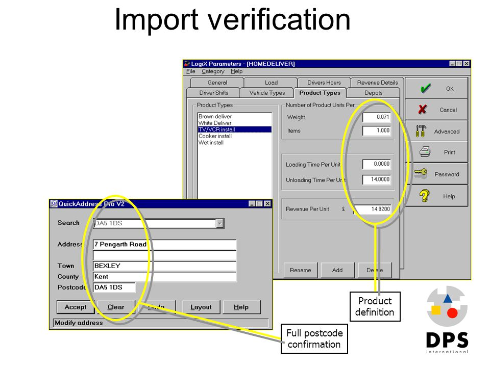 Import verification Product definition Full postcode confirmation