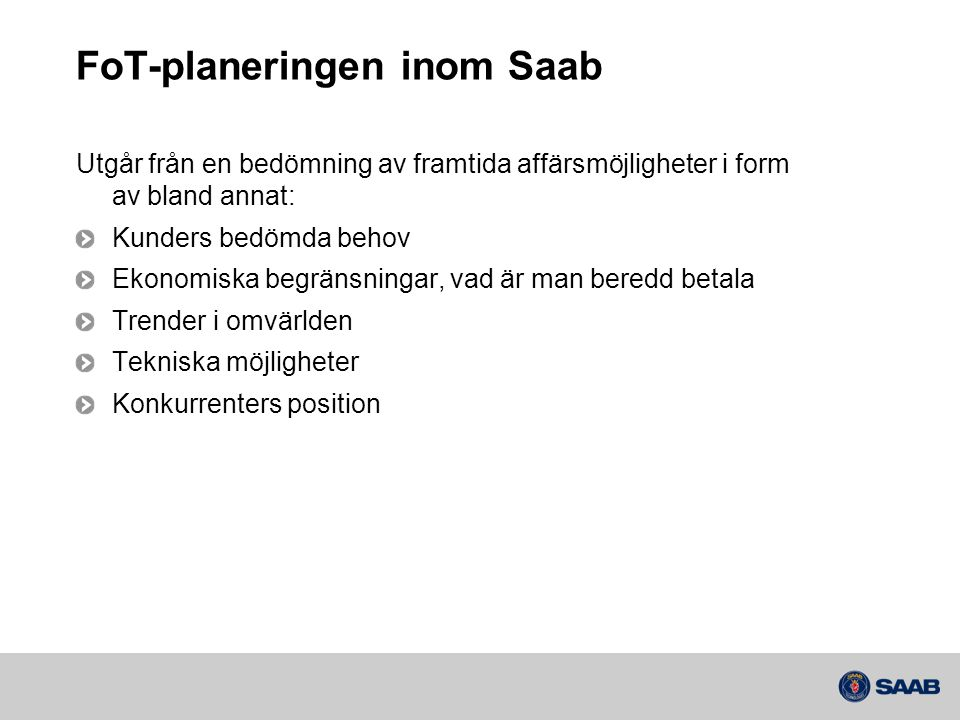 FoT-planeringen inom Saab