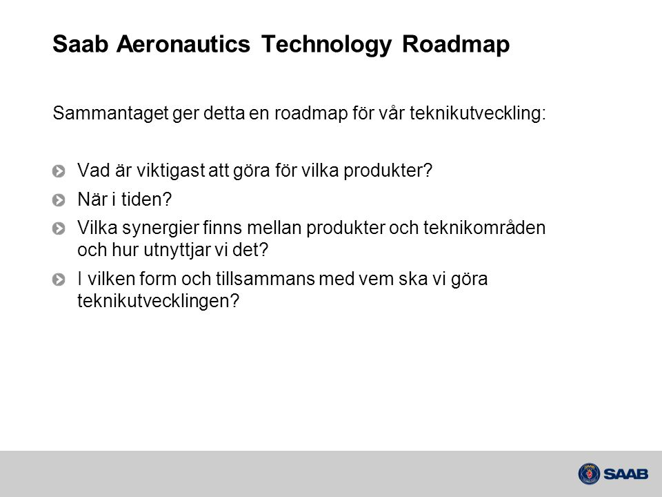 Saab Aeronautics Technology Roadmap