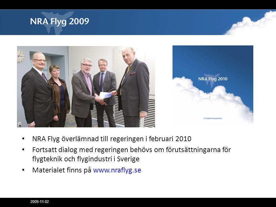 NRA Flyg överlämnad till regeringen i februari 2010