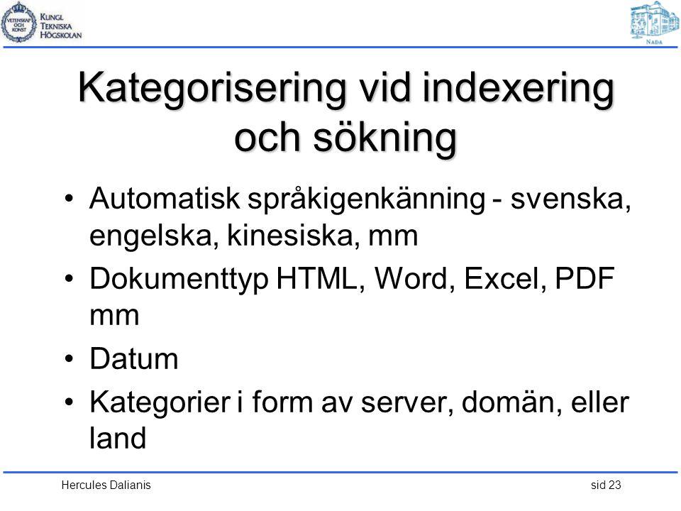 Kategorisering vid indexering och sökning