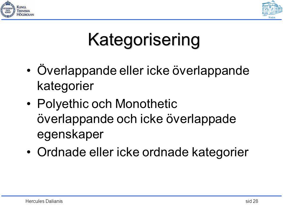 Kategorisering Överlappande eller icke överlappande kategorier