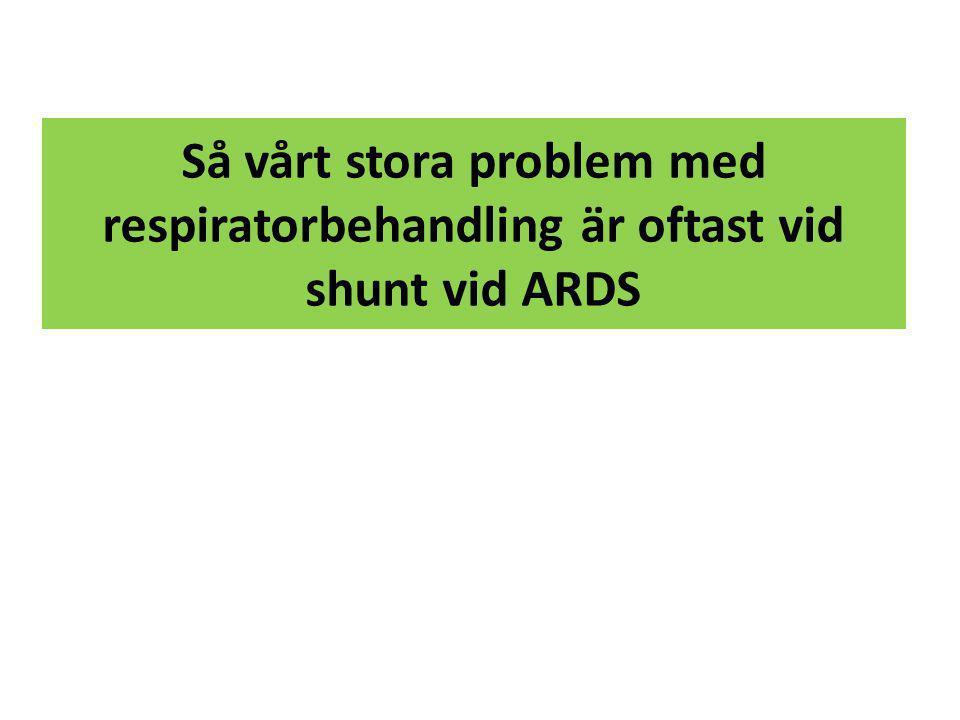 Så vårt stora problem med respiratorbehandling är oftast vid shunt vid ARDS