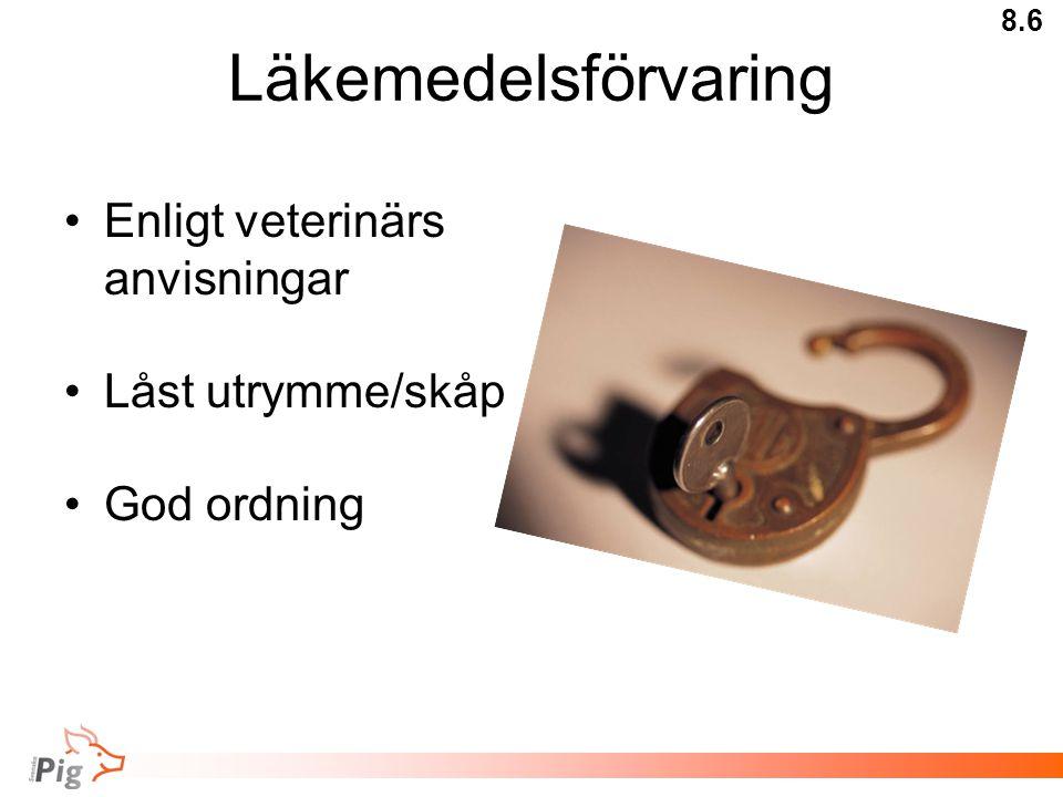 Läkemedelsförvaring Enligt veterinärs anvisningar Låst utrymme/skåp