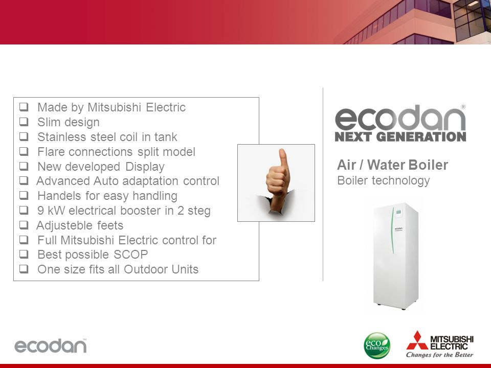Air / Water Boiler Made by Mitsubishi Electric Slim design