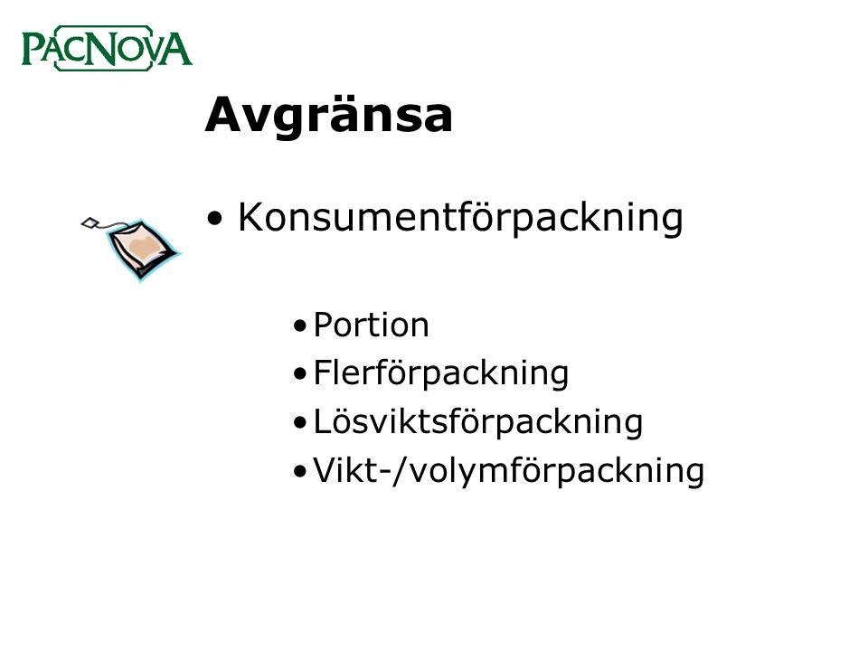 Avgränsa Konsumentförpackning Portion Flerförpackning