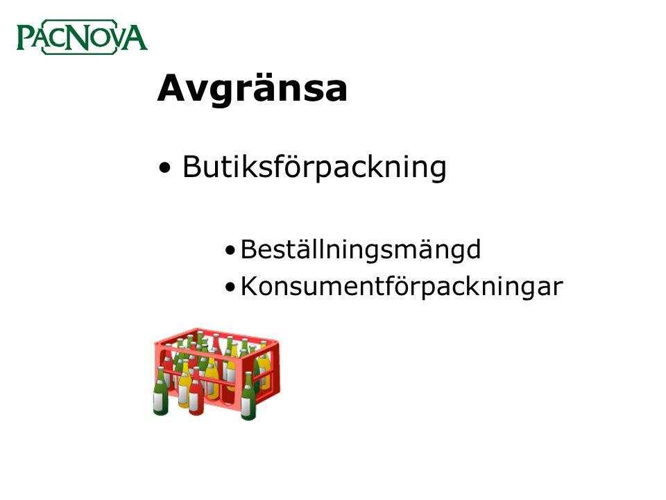 Avgränsa Butiksförpackning Beställningsmängd Konsumentförpackningar