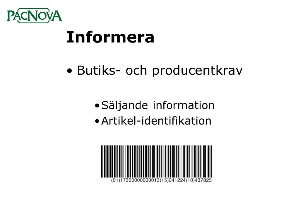 Informera Butiks- och producentkrav Säljande information