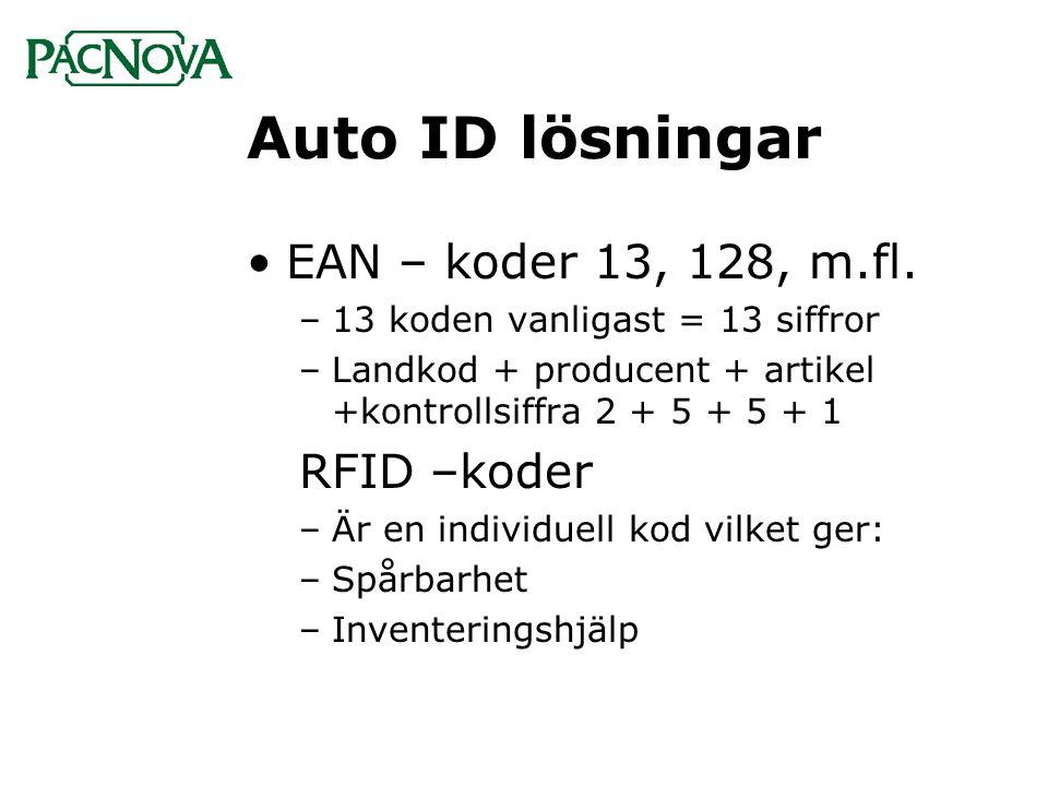 Auto ID lösningar EAN – koder 13, 128, m.fl. RFID –koder