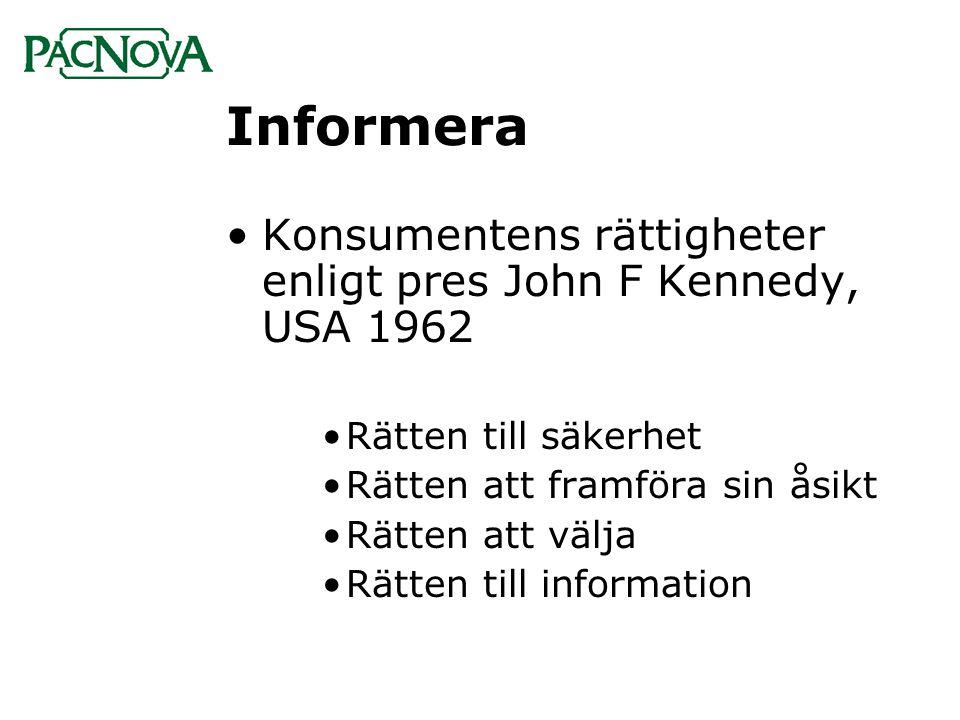 Informera Konsumentens rättigheter enligt pres John F Kennedy, USA 1962. Rätten till säkerhet. Rätten att framföra sin åsikt.