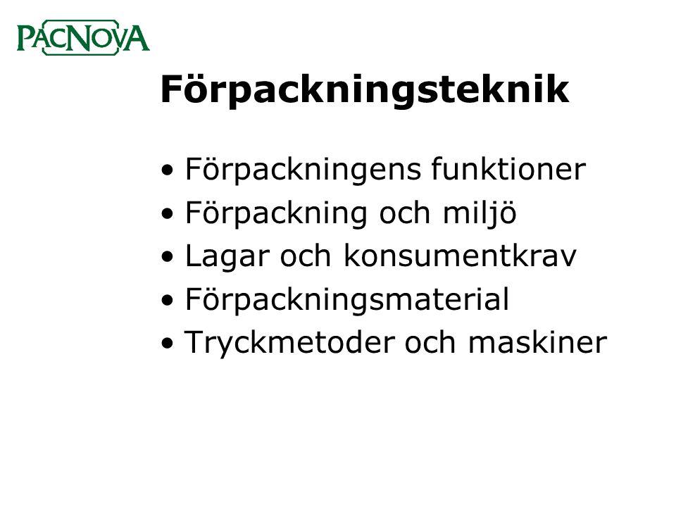 Förpackningsteknik Förpackningens funktioner Förpackning och miljö