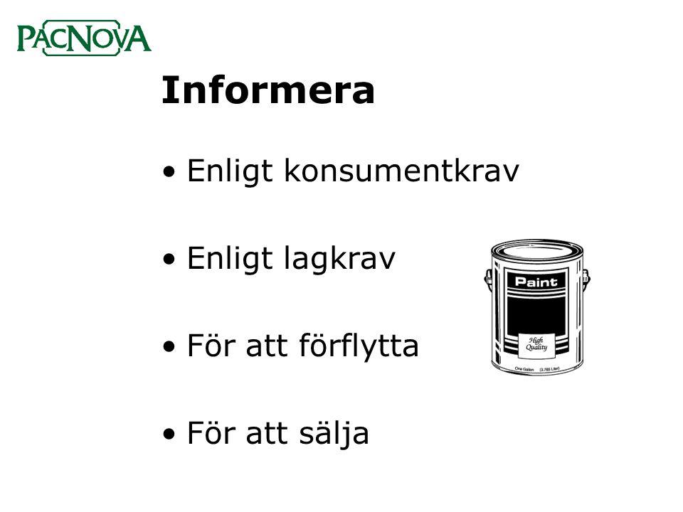 Informera Enligt konsumentkrav Enligt lagkrav För att förflytta