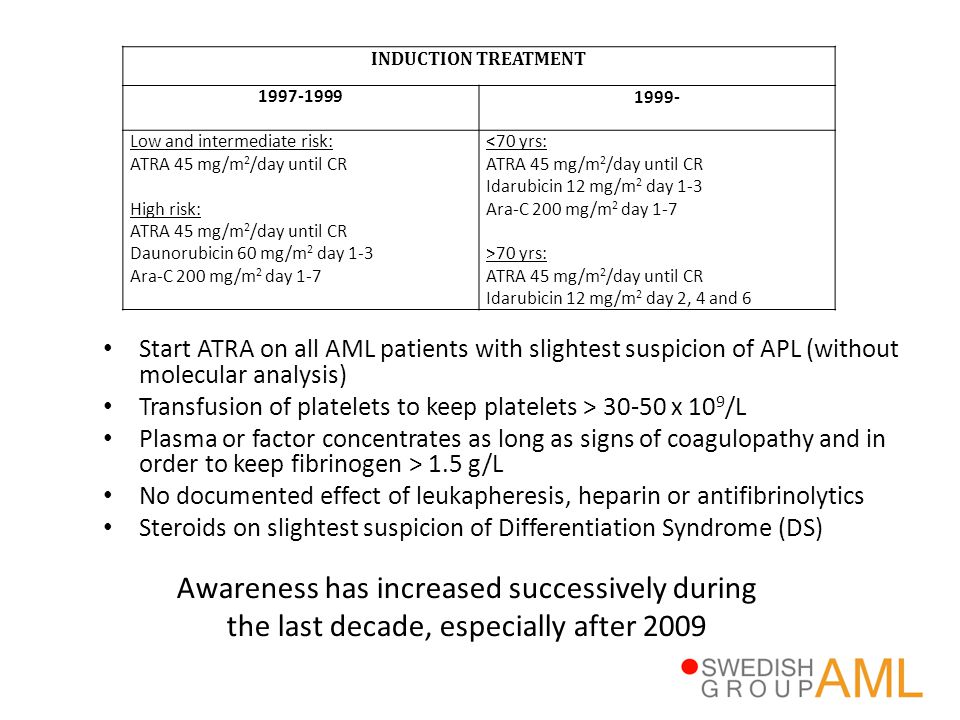 INDUCTION TREATMENT 1997-1999. 1999- Low and intermediate risk: ATRA 45 mg/m2/day until CR. High risk: