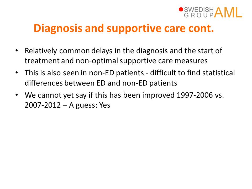 Diagnosis and supportive care cont.