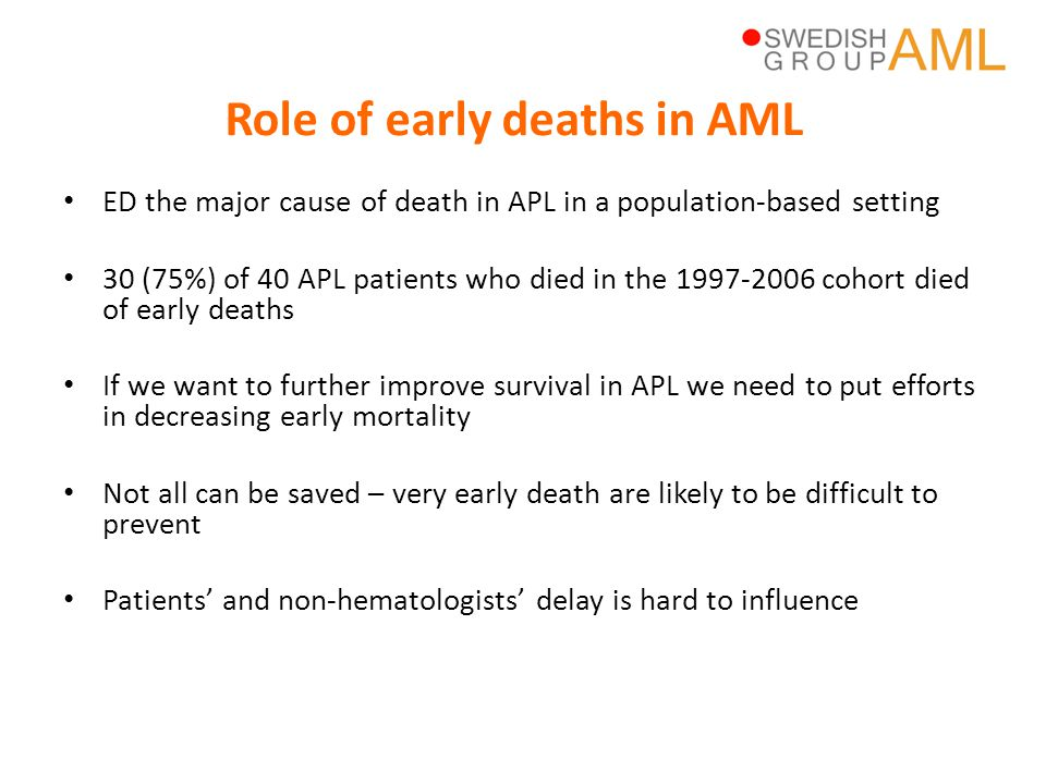 Role of early deaths in AML