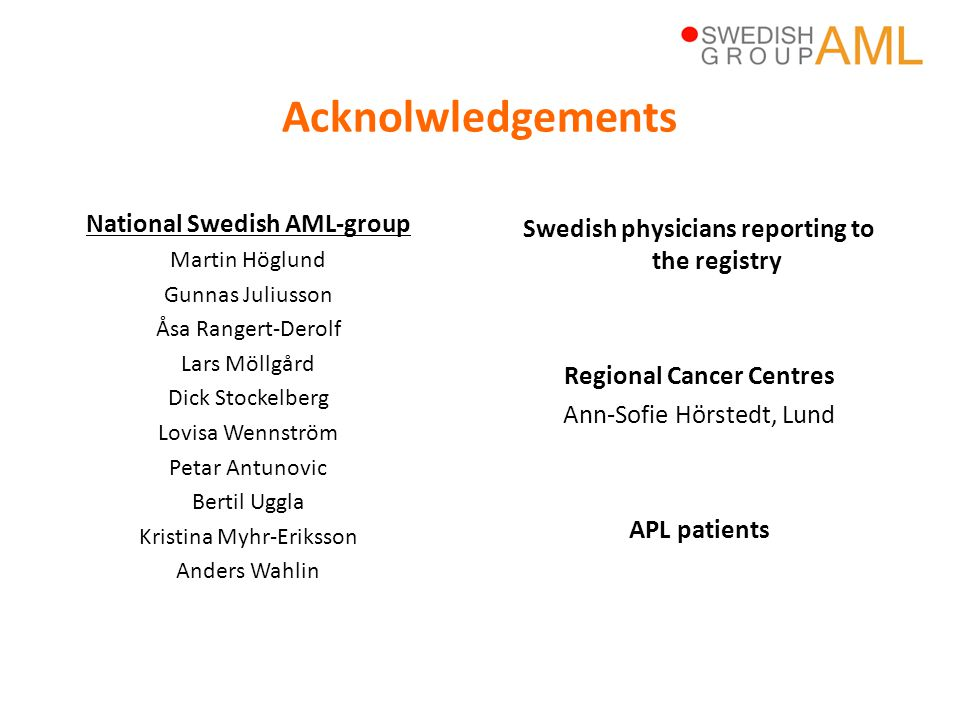 Swedish physicians reporting to the registry Regional Cancer Centres