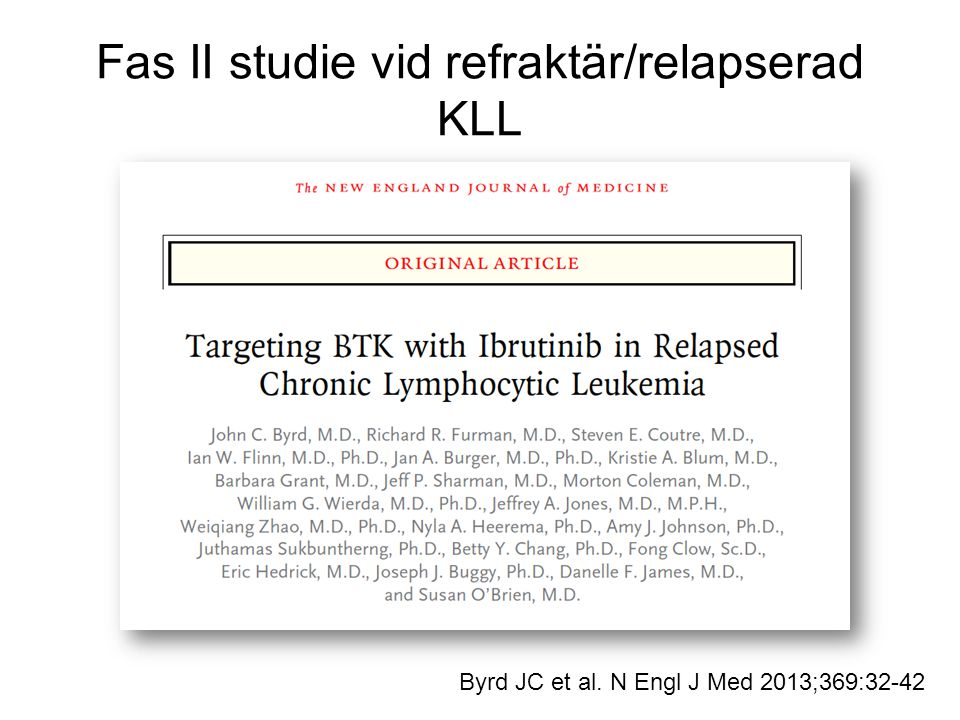 Fas II studie vid refraktär/relapserad KLL