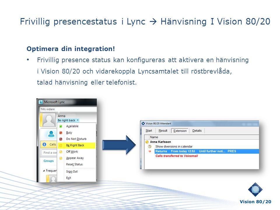Frivillig presencestatus i Lync  Hänvisning I Vision 80/20