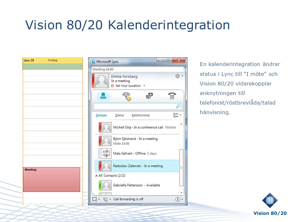 Vision 80/20 Kalenderintegration