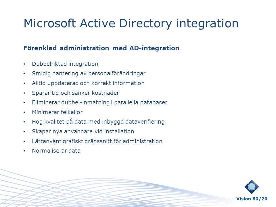 Microsoft Active Directory integration