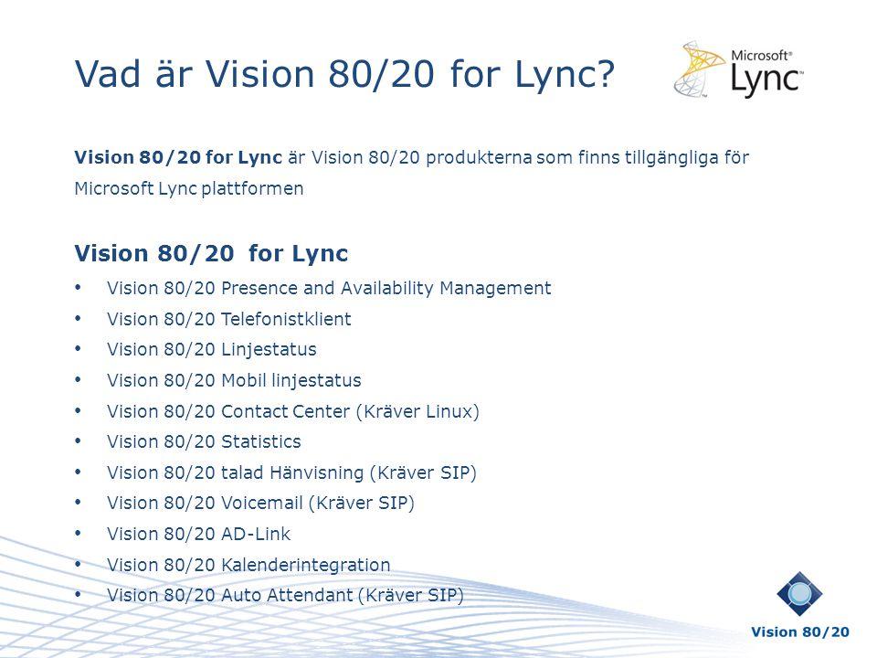 Vad är Vision 80/20 for Lync Vision 80/20 for Lync