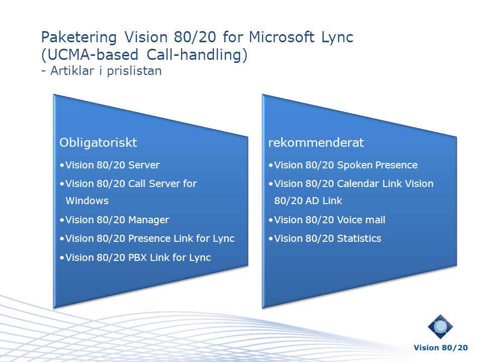 Paketering Vision 80/20 for Microsoft Lync (UCMA-based Call-handling)