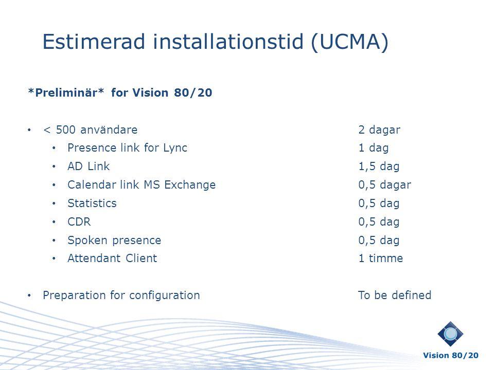 Estimerad installationstid (UCMA)