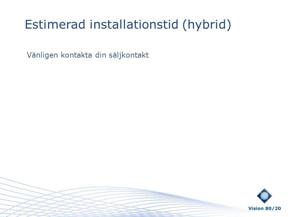 Estimerad installationstid (hybrid)