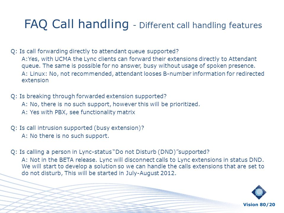 FAQ Call handling - Different call handling features