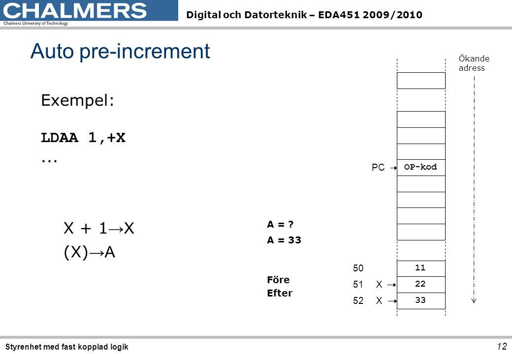 Auto pre-increment Exempel: LDAA 1,+X ... X + 1→X (X)→A PC OP-kod