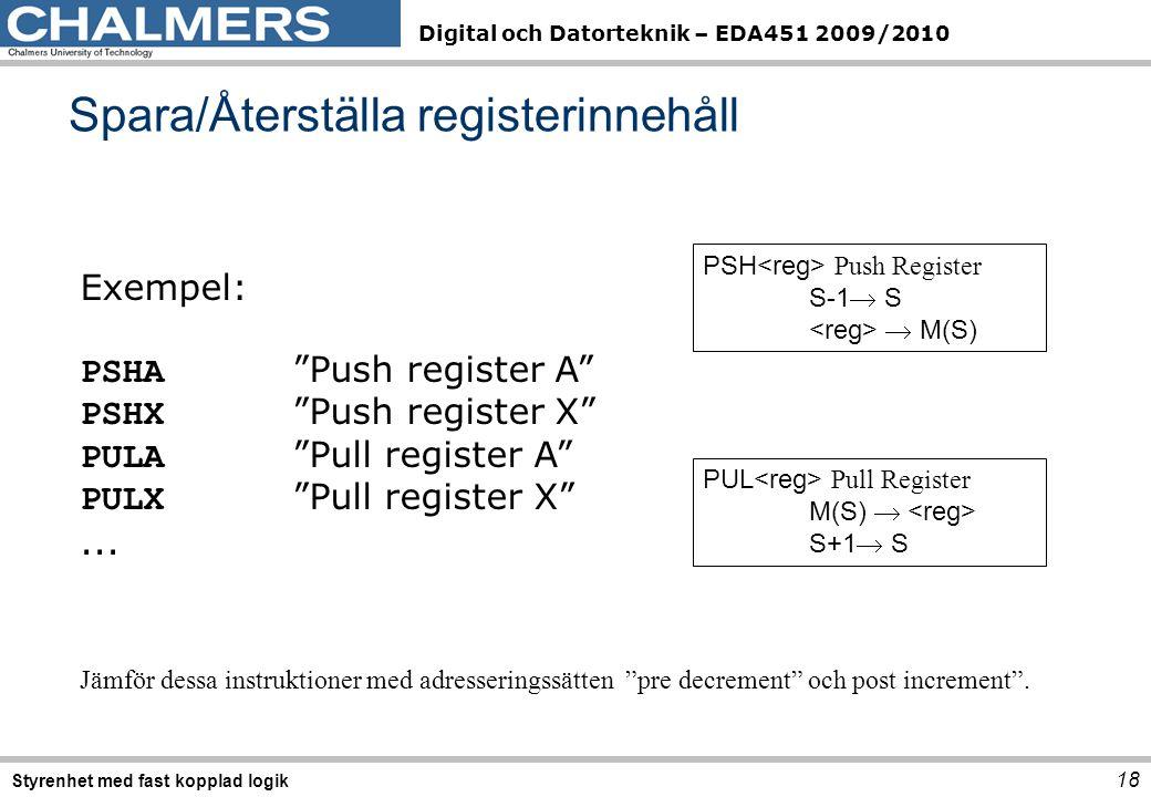 Spara/Återställa registerinnehåll