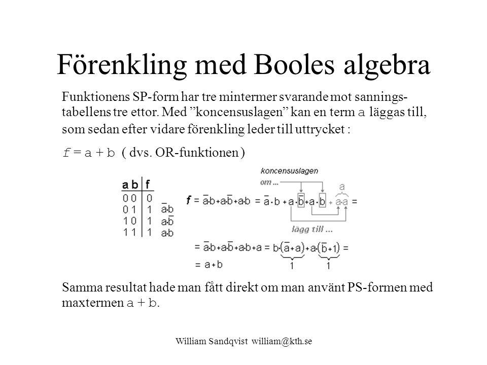 Förenkling med Booles algebra