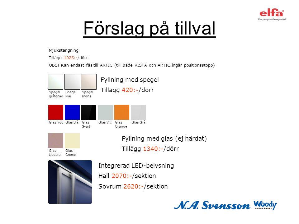 Förslag på tillval Fyllning med spegel Tillägg 420:-/dörr