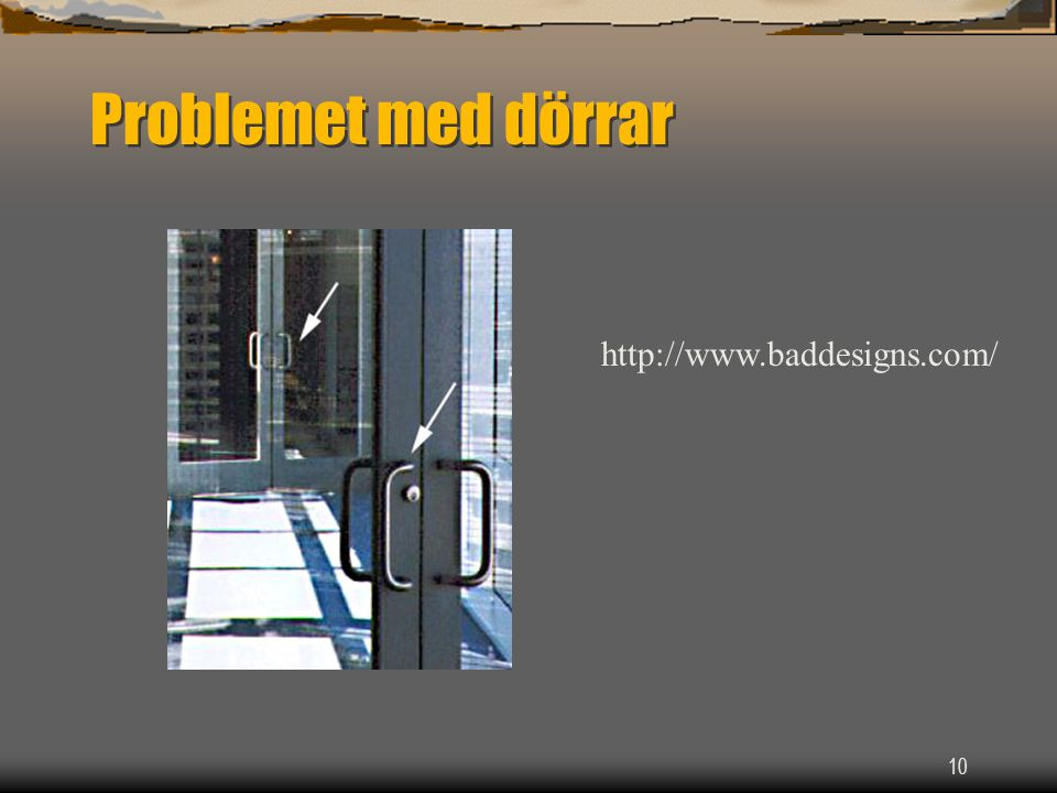 Problemet med dörrar http://www.baddesigns.com/