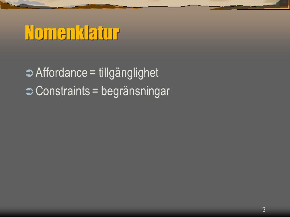 Nomenklatur Affordance = tillgänglighet Constraints = begränsningar