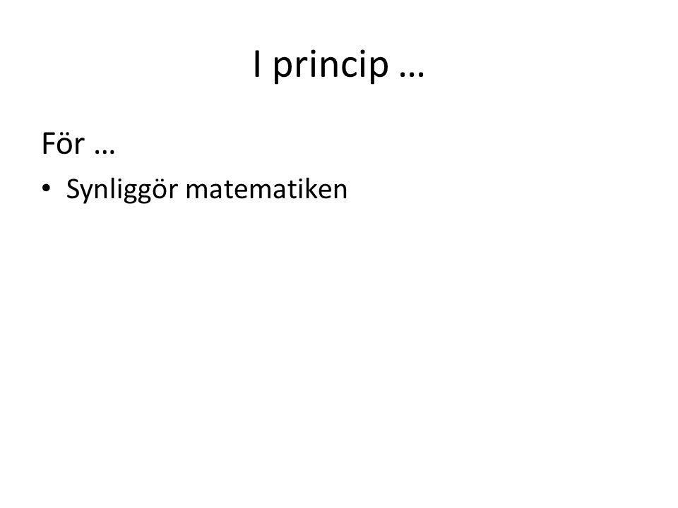 I princip … För … Synliggör matematiken