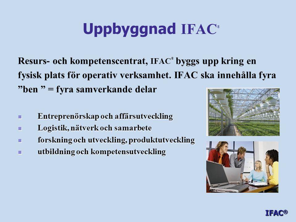 Uppbyggnad IFAC® Resurs- och kompetenscentrat, IFAC® byggs upp kring en. fysisk plats för operativ verksamhet. IFAC ska innehålla fyra.