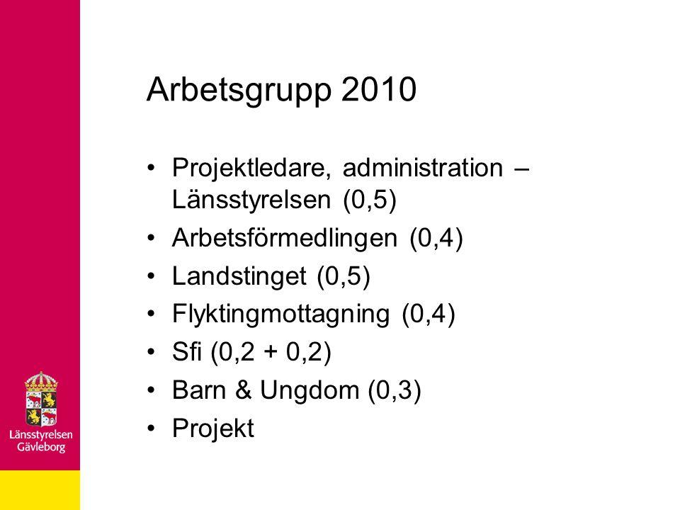 Arbetsgrupp 2010 Projektledare, administration – Länsstyrelsen (0,5)