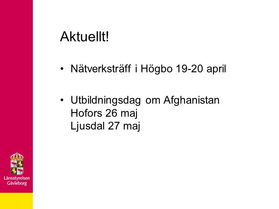 Aktuellt! Nätverksträff i Högbo 19-20 april