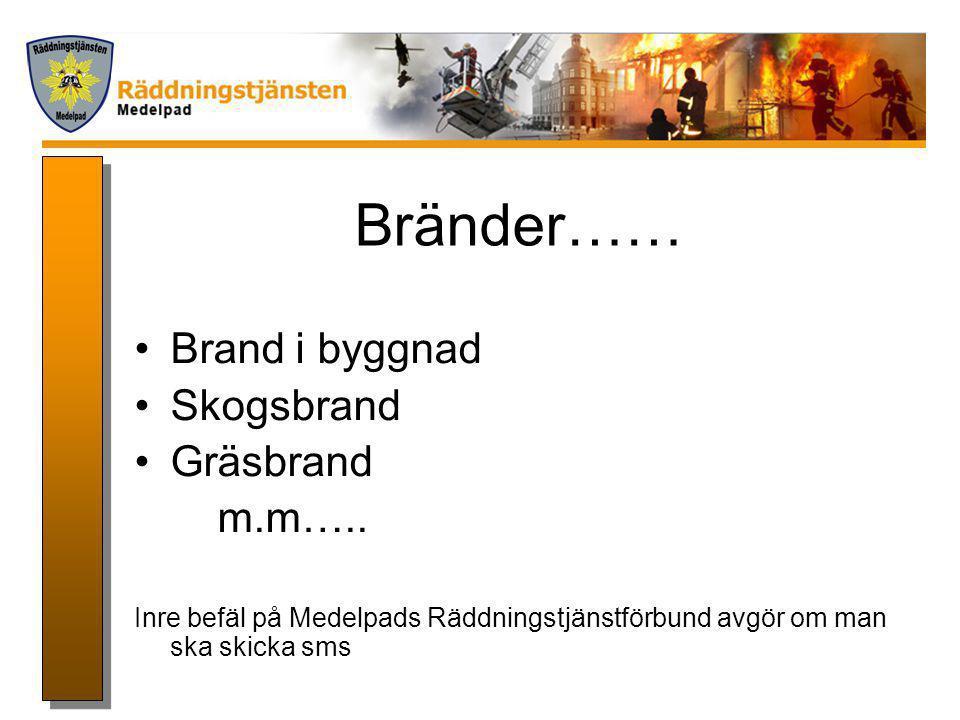 Bränder…… Brand i byggnad Skogsbrand Gräsbrand m.m…..